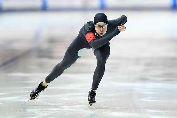 MILWAUKEE, WI - JANUARY 05:  Jonathan Garcia competes in the Men's 500 meter event during the Long Track Speed Skating Olympic Trials at the Pettit National Ice Center on January 5, 2018 in Milwaukee, Wisconsin.  (Photo by Stacy Revere/Getty Images)