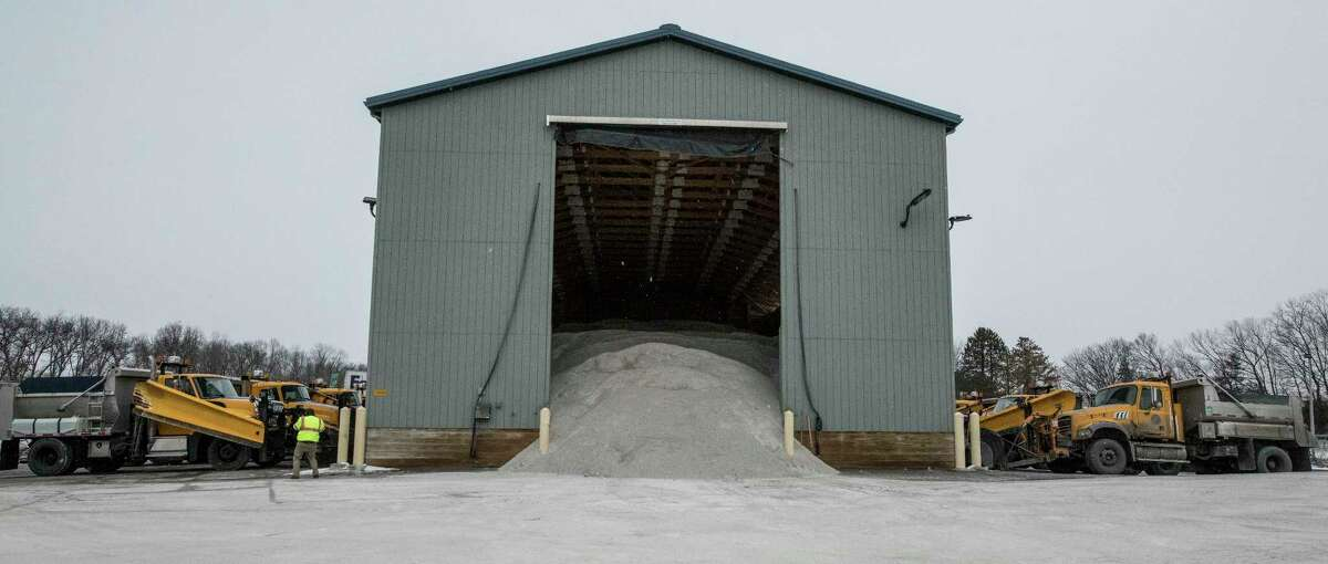 Plenty of road salt and snow plows ready and waiting at the NYS DOT garage Tuesday Feb. 6, 2018 in Latham, N.Y. in preparation for the forecast storm to hit the area tomorrow. (Skip Dickstein/Times Union)
