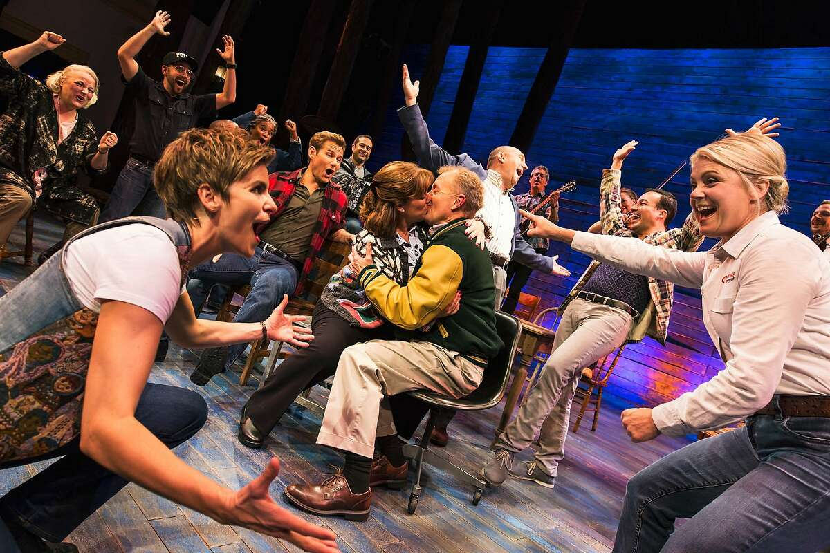 """FILE-- The Broadway cast of """"Come From Away,"""" whose touring company will be part of the SHN 2018-19 season"""
