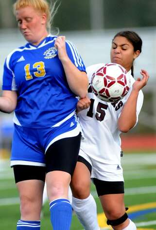 Stillwater's Sarahann Mistretta, right, takes control of the ball against Granville's Anna Rogoza. (Cindy Schultz / Times Union) Photo: CINDY SCHULTZ