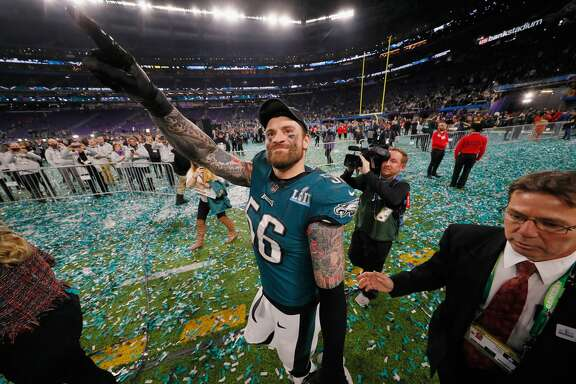 MINNEAPOLIS, MN - FEBRUARY 04:  Chris Long #56 of the Philadelphia Eagles celebrates his teams 41-33 victory over the New England Patriots in Super Bowl LII at U.S. Bank Stadium on February 4, 2018 in Minneapolis, Minnesota. The Philadelphia Eagles defeated the New England Patriots 41-33.  (Photo by Kevin C. Cox/Getty Images)
