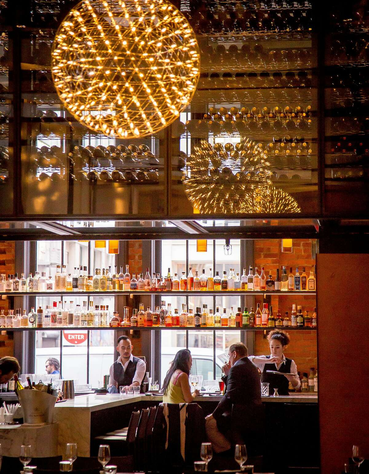 The bar and the wine bridge at Mourad in San Francisco, Calif., is seen on Thursday, March 12th, 2015.