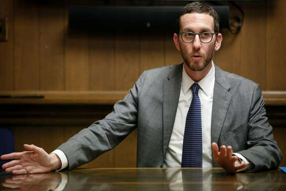 California State Senator Scott Wiener adddresses the SF Chronicle Editorial Board on Thursday, Jan. 18, 2018 in San Francisco, Calif. The success of Wiener's groundbreaking housing legislation relies on hundreds of California cities and counties' willingness to change their housing policies.