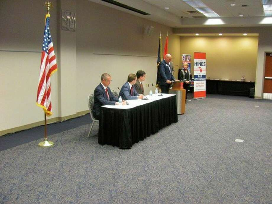 Michigan gubernatorial candidates, from the left, Dr. Jim Hines, Lt. Gov. Brian Calley and Sen. Pat Colbeck participated in a debate Monday at Saginaw Valley State University.