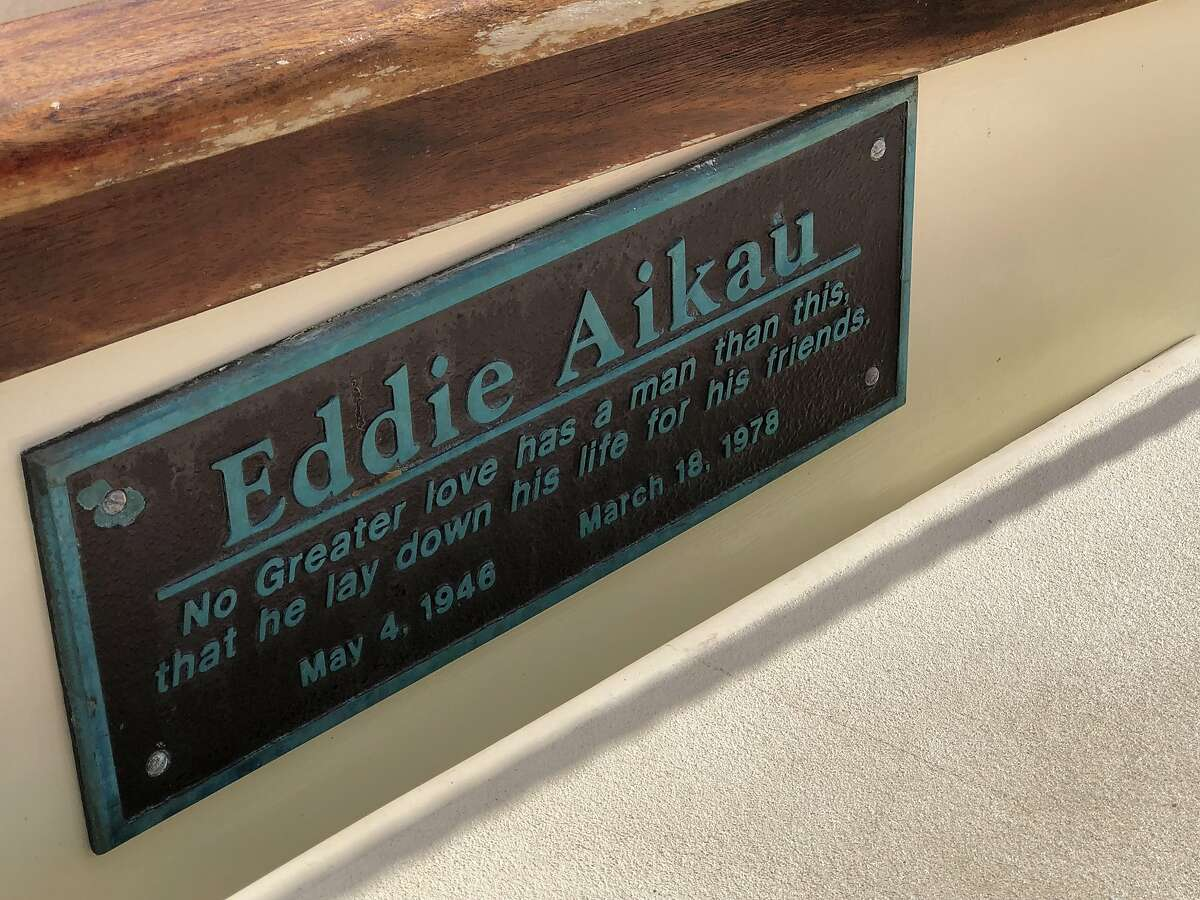 "This plaque on Hokule'a honors Eddie Aikau, lost at sea in an effort to help Hokule'a crew members in 1978. His heroism lives on in the waterman's phrase, ""Eddie Would Go."""