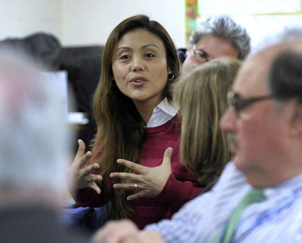 Emiret Gonzalez, of Danbury, an immigrant, talks about the benefits of a recently received grant in Danbury, Tuesday, Feb. 6, 2018. Boston Fed sponsored a grant challenge that Danbury won to reduce poverty among immigrants and minorities. The Working Cities Challenge awarded Danbury and four other small cities in Connecticut $450,000.