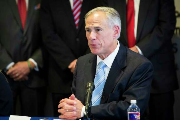 Texas Gov. Greg Abbott is proposing stricter enforcement and penalties to predators and purveyors of prostitution and human trafficking, Tuesday, Feb. 6, 2018, in Houston.