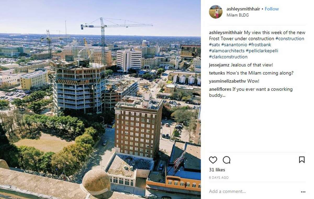 Social media users are starting to take notice of San Antonio's Frost Tower as it continues being constructed.