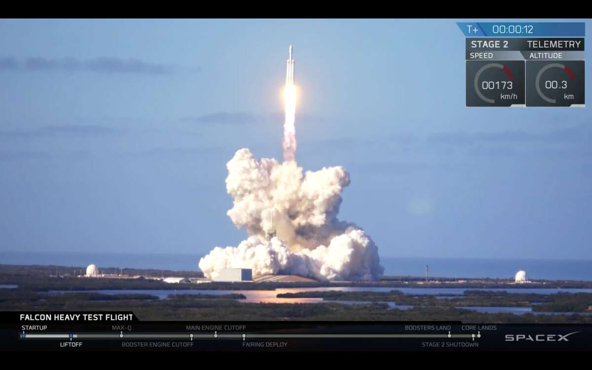 SpaceX's big new rocket launched from the Kennedy Space Center Tuesday afternoon in an event that was shown live across the world.