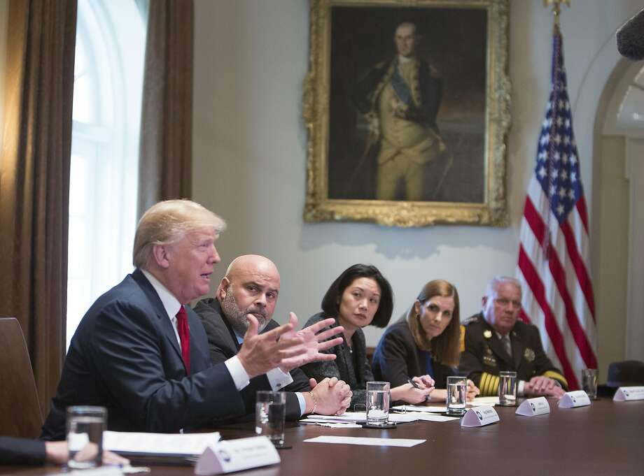 WASHINGTON, D.C. - FEBRUARY 6: (AFP-OUT) U.S. President Donald Trump hosts a law enforcement round table on MS-13 at the White House on February 6, 2018 in Washington, DC. (Photo by Chris Kleponis-Pool/Getty Images) Photo: Pool, Getty Images