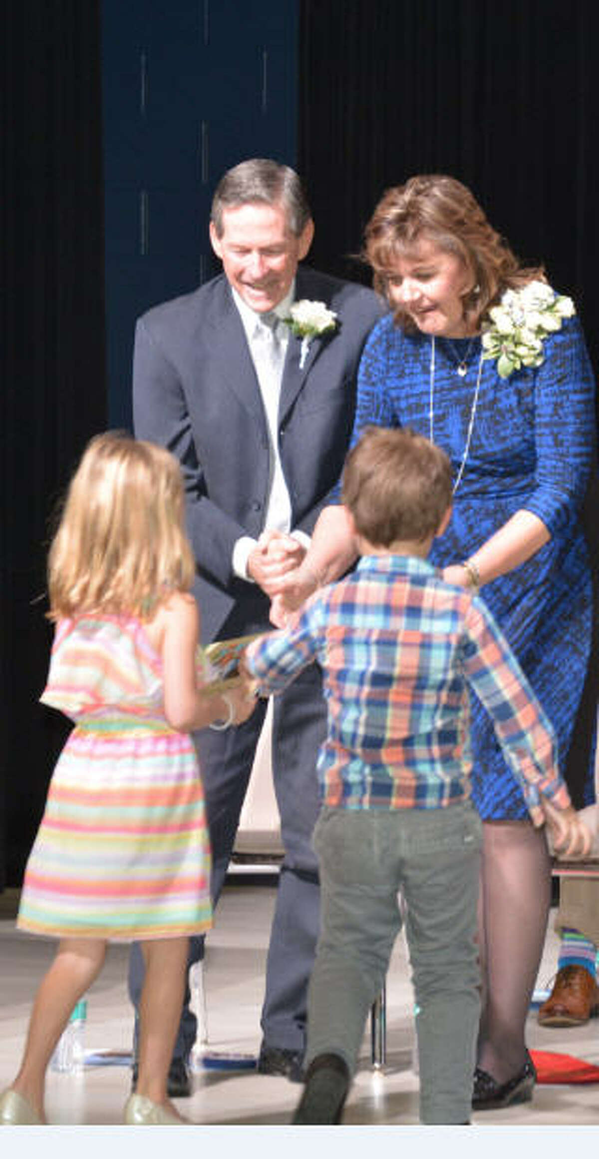 Robert and Felice Bryant attended the Feb. 4 dedication by Katy Independent School District of the elementary school named after the two longtime educators.Tristan Nugent and Jack Elrod, kindergartners at Bryant, participated in the dedication ceremony.