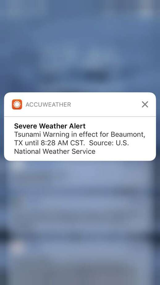 Beaumont Enterprise readers shared screen grabs of tsunami alerts sent to their cell phones on Tuesday morning. Photo: From The Beaumont Enterprise Facebook Page