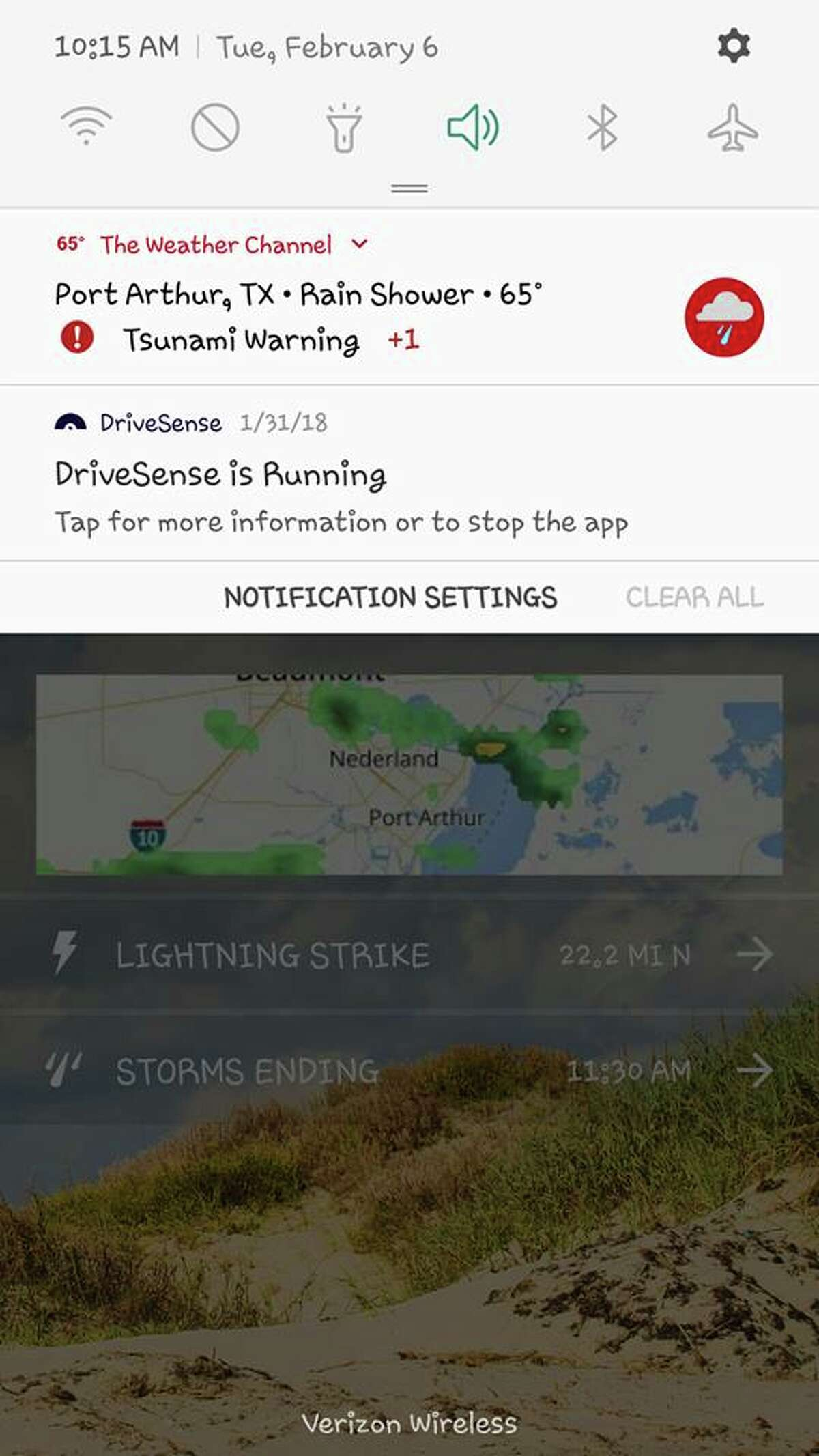 Beaumont Enterprise readers shared screen grabs of tsunami alerts sent to their cell phones on Tuesday morning.