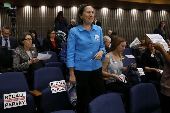 Stanford law professor Michele Dauber prepares for a meeting of the Santa Clara County Board of Supervisors, who were expected to approve a ballot measure to recall Judge Aaron Persky in San Jose, Calif. on Tuesday, Feb. 6, 2018. Dauber led the recall effort against Persky, who was criticized after handing down a six-month sentence to former Stanford athlete Brock Turner for a sexual assault conviction.