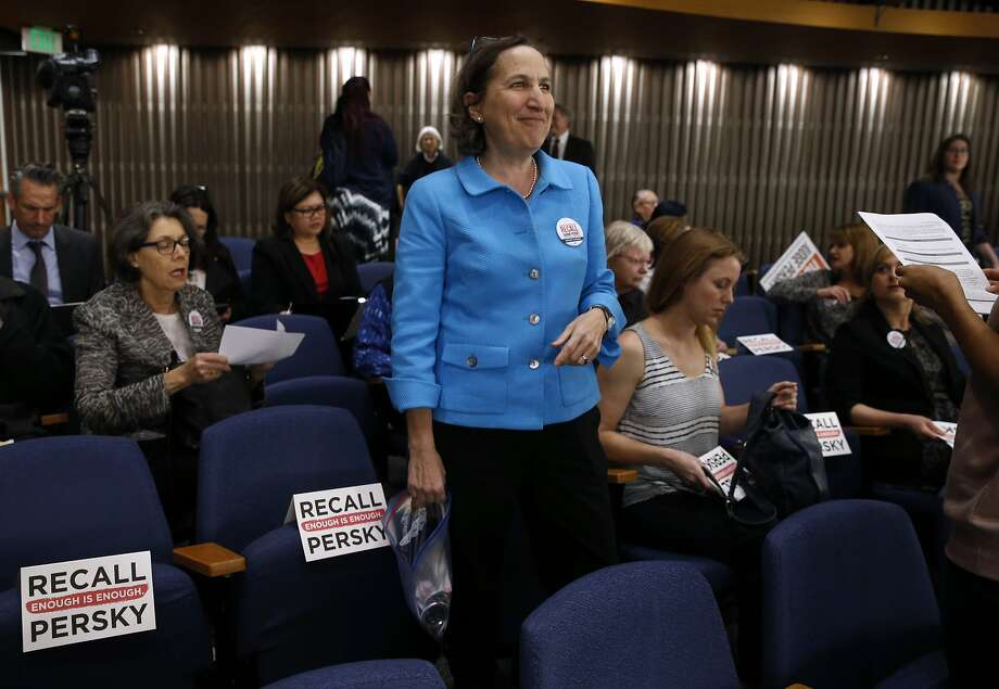 Stanford law professor Michele Dauber prepares for a meeting of the Santa Clara County Board of Supervisors, who were expected to approve a ballot measure to recall Judge Aaron Persky in San Jose, Calif. on Tuesday, Feb. 6, 2018. On Wednesday, Dauber said she received an envelope containing a threatening letter and white powder. Schools officials later confirmed the powder was not dangerous. Photo: Paul Chinn, The Chronicle