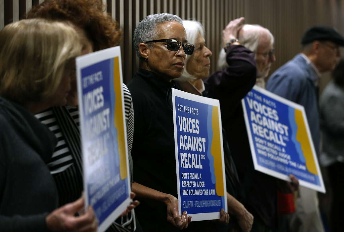 Retired Santa Clara County Superior Court Judge LaDoris Cordell (center) is joined by other opponents of a recall initiative at a meeting of the Santa Clara County Board of Supervisors, who were expected to approve a ballot measure to recall Judge Aaron Persky in San Jose, Calif. on Tuesday, Feb. 6, 2018. Persky came under fire for handing down a six-month sentence to former Stanford athlete Brock Turner after a conviction on sexual assault.