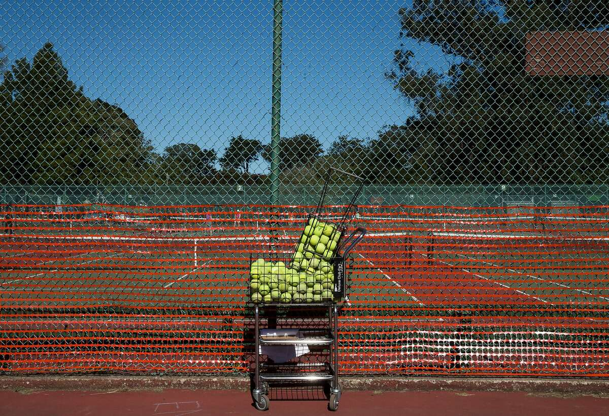 The redesign of the Golden Gate Park Tennis Center would reconfigure the courts into small clusters to provide more space between each one.