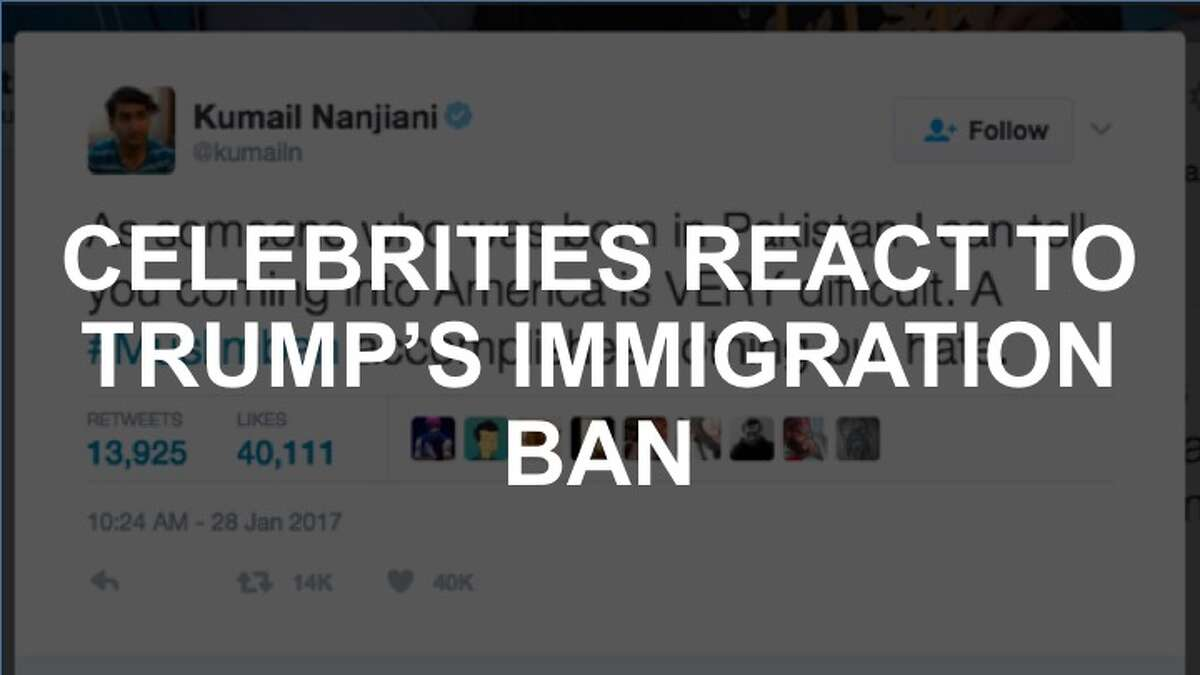 Celebrities react to Donald Trump's immigration ban on Twitter.