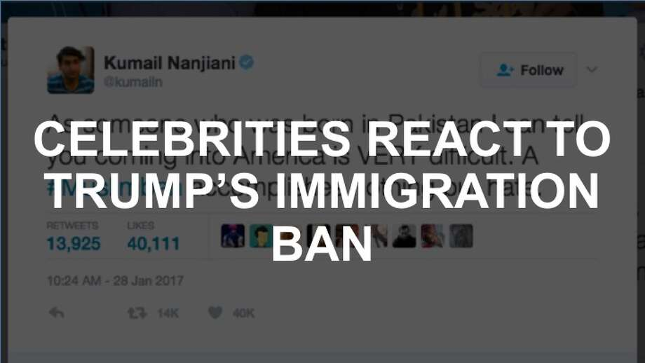 Celebrities react to Donald Trump's immigration ban on Twitter. Photo: Twitter Screenshot