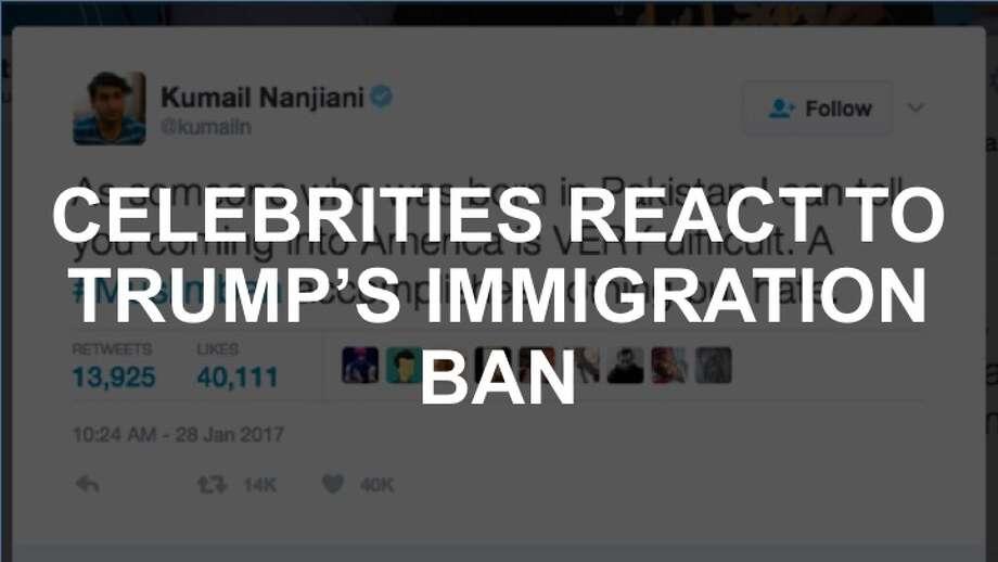 Celebrities react to Donald Trump's immigration ban on Twitter. Photo: Twitter Screenshot