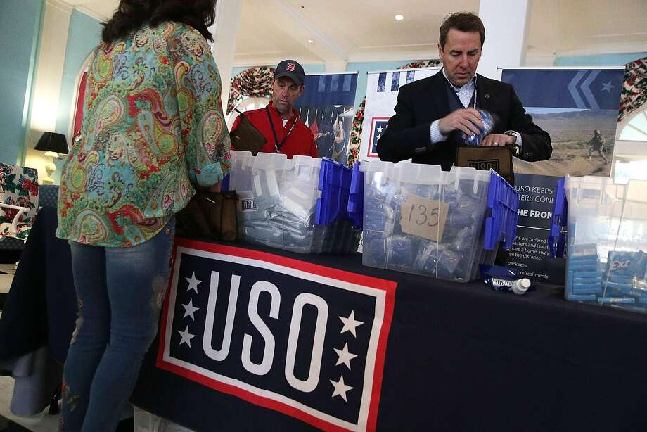 California Rep. Steve Knight, at right, preparing USO care packages at the 2018 House & Senate Republican Member Conference earlier this month in West Virginia. A new poll indicate he'll have a tough race for re-election. Photo: Alex Wong, Getty Images