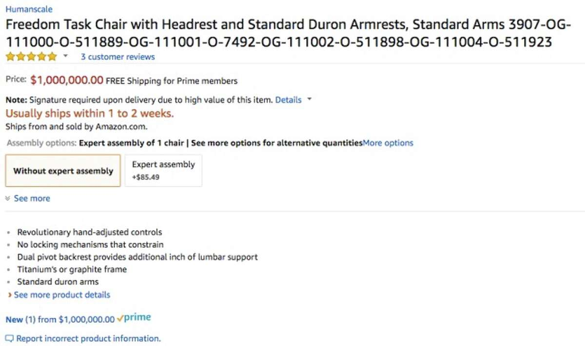 An office chair was erroneously listed for $1 million Tuesday on Amazon. The price has since been changed to a more reasonable $1,361.
