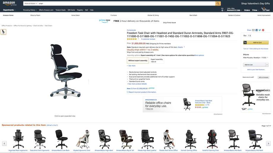 An office chair was erroneously listed for $1 million Tuesday on Amazon. The price has since been changed to a more reasonable $1,361. Photo: Amazon