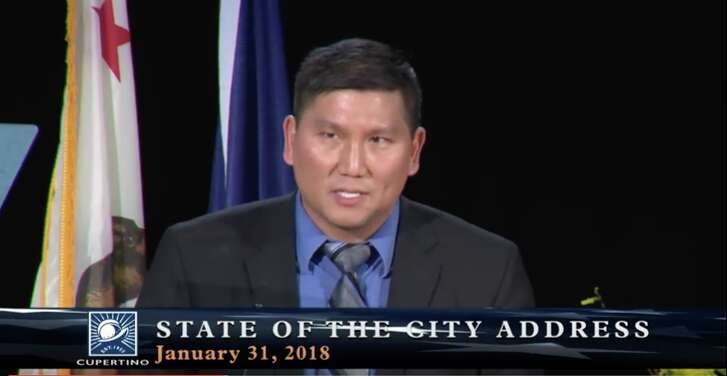 Cupertino Mayor Darcy Paul presenting the 2018 State of the City Address on Jan. 31, 2018.