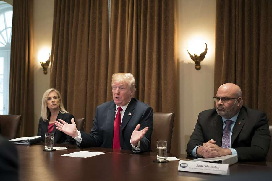 FILE-- President Trump on Tuesday tweeted criticism at Democrats while noting an undocumented immigrant was suspected of killing two men — including an NFL player — in a drunken driving accident Sunday in Indiana. Photo: TOM BRENNER, NYT