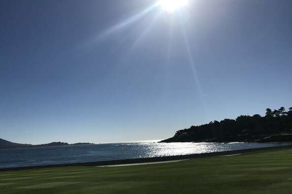 Scenes from Pebblel Beach golf course, where celebrities, golfers and athletes from other sports will compete in the 2018 AT& Pebble Beach Pro-Am Tournament from Feb. 8-11, 2018. These photos, taken on Feb. 6, 2018, during a pre-tournament celebrity putting contest, include pictures of the world's No. 1 golfer, Dustin Johnson, NFL quarterback Aaron Rodgers, NFL wide receiver Larry Fitzgerald, former 49ers lineman Haris Barton, along with some scenic shots of Pebble's famed 17th and 18th holes. (Credit: Al Saracevic/San Francisco Chronicle)