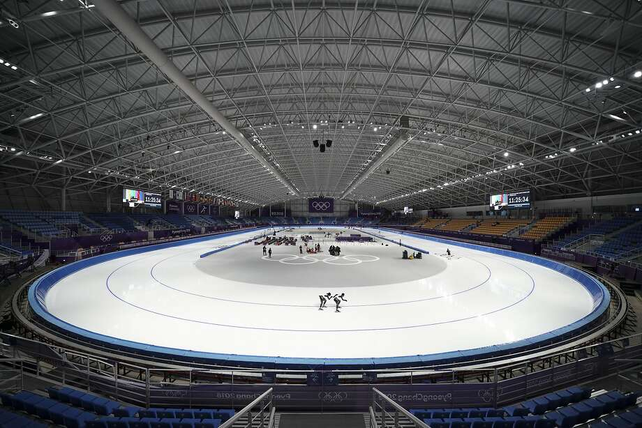Athletes from Japan practice at the Gangneung Oval during a speed skating training session prior to the 2018 Winter Olympics in Gangneung, South Korea. As with past Olympics, NBC is requiring proof of a TV subscription to watch. More than 1,800 hours of online coverage begins Wednesday, Feb. 7, in the U.S. with preliminary curling matches. (AP Photo/Felipe Dana, File) Photo: Felipe Dana, Associated Press