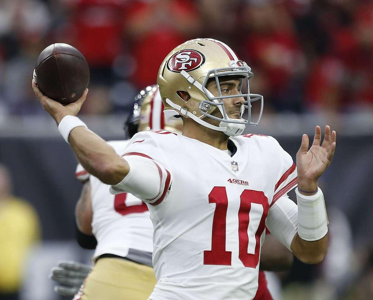 San Francisco 49ers quarterback Jimmy Garoppolo (10) passes the ball during the second quarter of an NFL football game at NRG Stadium, Sunday, Dec. 10, 2017, in Houston. ( Karen Warren / Houston Chronicle )