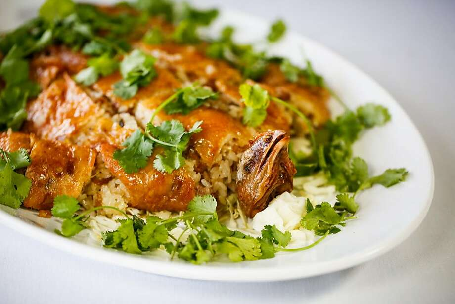 Glutinous rice-stuffed chicken at Cooking Papa restaurant in Foster City. Photo: Gabrielle Lurie, The Chronicle