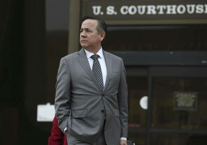 Texas State Sen. Carlos Uresti leaves the U.S. Federal Courthouse, Tuesday, Feb. 6, 2018. Uresti is on trial on criminal fraud charges with co-defendant Gary Cain in relation to the bankrupt fracking sand company, FourWinds Logistics.