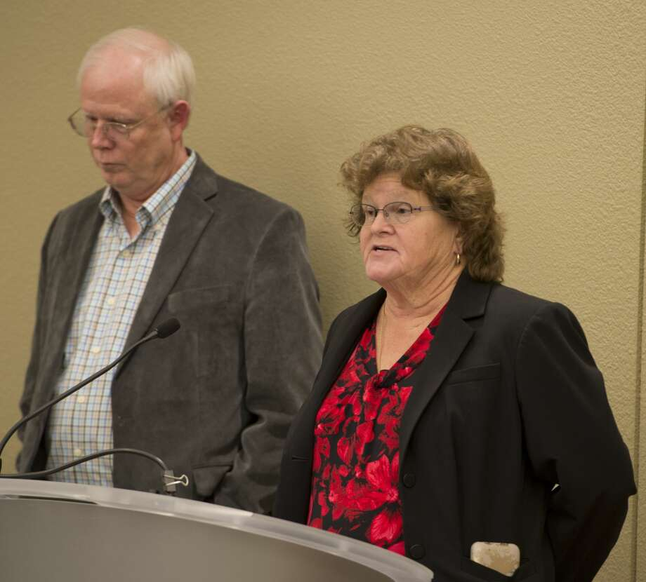 Candidtaes for Midland County Commissioner Carla Repman and Randy Prude answer questions 02/06/18 during a candidate forum at the Centennial Library. Tim Fischer/Reporter-Telegram Photo: Tim Fischer/Midland Reporter-Telegram
