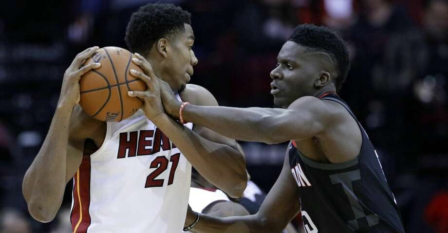 PHOTOS: Rockets game-by-gameRockets center Clint Capela and Heat center Hassan Whiteside are on pace to be the second and third players in NBA history to average 14 points and 10 rebounds while playing fewer than 27 minutes per game, joining Johnny Green of the Knicks in 1963-64.Browse through the photos to see how the Rockets have fared through each game this season. Photo: Michael Wyke/Associated Press
