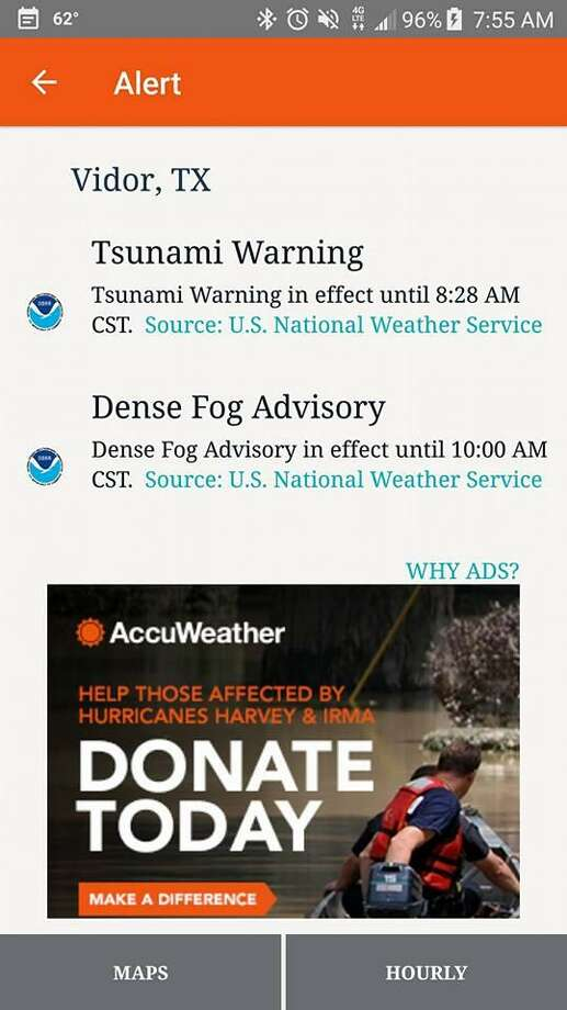 "People across Houston, Galveston and the whole Gulf Coast — and some destinations even farther away — got a startling alert about 7:30 a.m.: ""Tsunami Warning in effect."" The warning was a false alarm. Beaumont Enterprise readers shared screengrabs of tsunami alerts sent to their cellphones on Tuesday morning. Photo: From The Beaumont Enterprise Facebook Page"