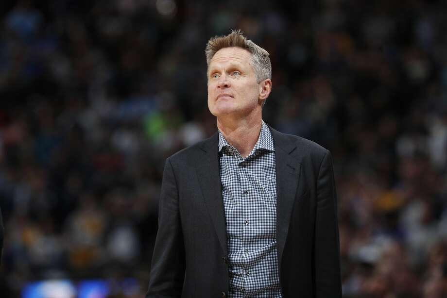 Golden State Warriors head coach Steve Kerr in the second half of an NBA basketball game Saturday, Feb. 3, 2018, in Denver. The Nuggets won 115-108. (AP Photo/David Zalubowski) Photo: David Zalubowski, Associated Press