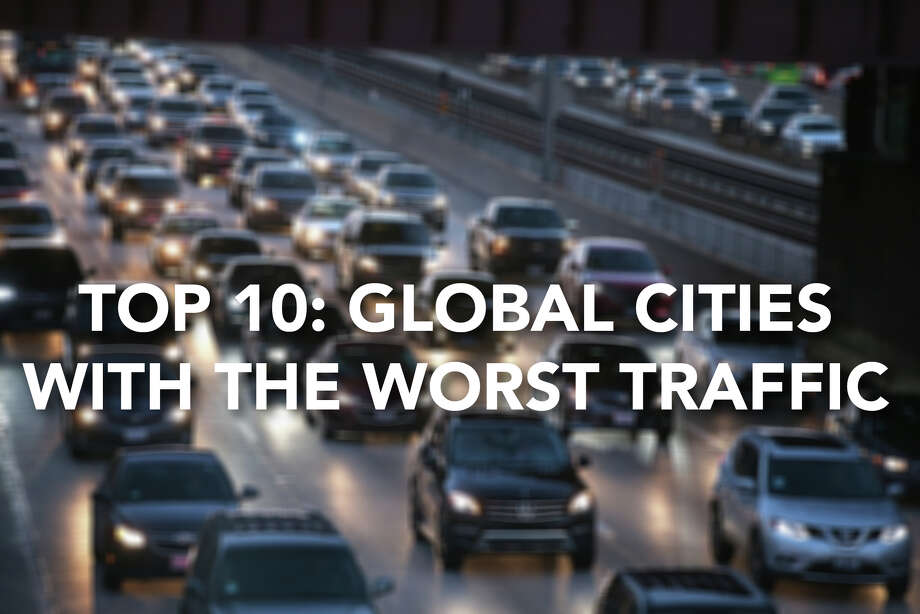 "Transportation research firm INRIX has released its 2017 traffic rankings, and half of the world's 10 most-congested cities are in the US! The US is also the fifth most congested country of the 38 surveyed, tied with Russia. Remember these numbers, next time your bus is running late...*Note: ""Hours in traffic"" refers to average hours spent in peak traffic per driver per year. See the data here. Photo: Getty Images"
