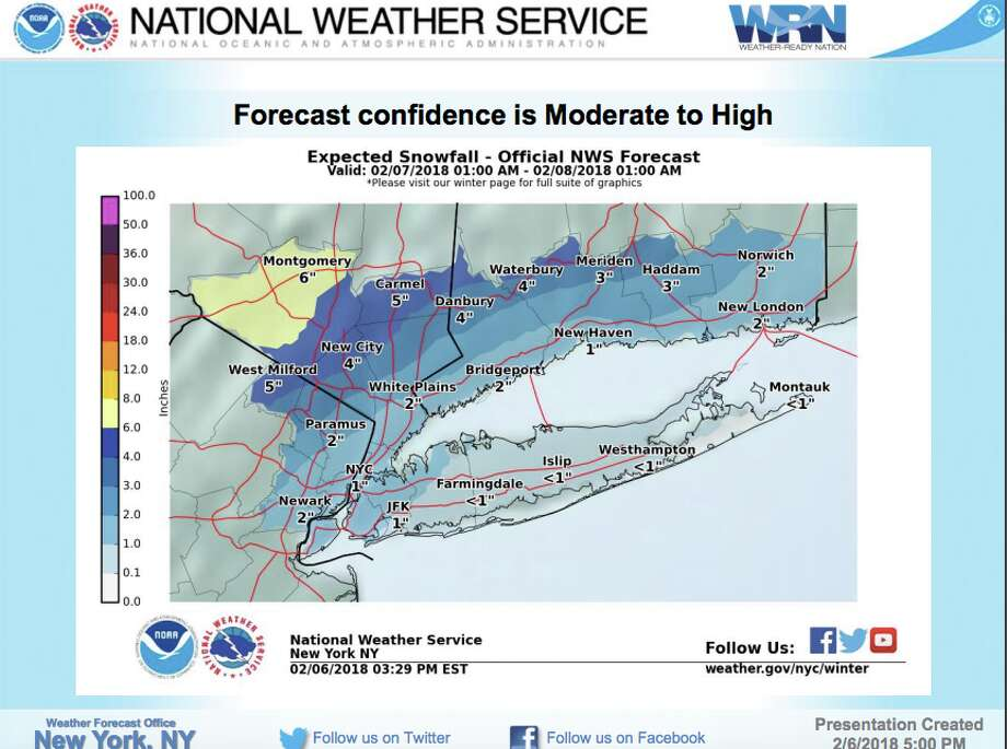 The National Weather Service has issued a winter weather advisory for southern and northern parts of Fairfield County, which will be in effect starting at 6 a.m. on Wednesday, February 7, 2018. Photo: National Weather Service