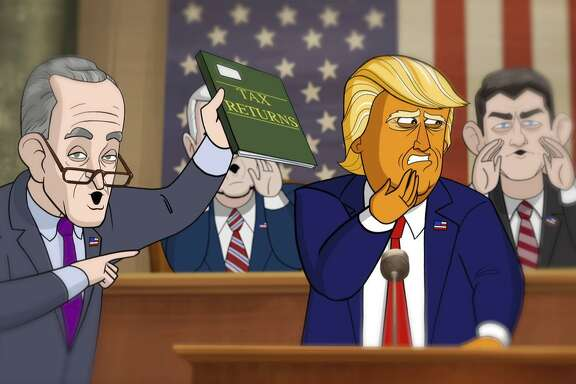 "Animated versions of Senate Minority Leader Chuck Schumer, D-N.Y., and President Trump bicker on Showtime's new ""Our Cartoon President."""