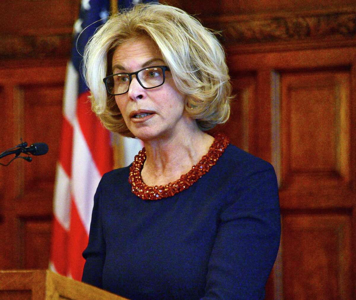 Chief Judge Janet DiFiore delivers her second annual State of Our Judiciary Address in the Court of Appeals Hall Tuesday Feb. 6, 2018 in Albany, NY. (John Carl D'Annibale/Times Union)