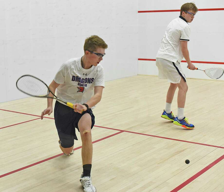 Will Mackle, a resident of New Canaan, left, helped lead the Greens Farms Academy boys squash team to a third-place finish at the US National High School championships over the weekend in Philadelphia. Photo: Contributed Photo