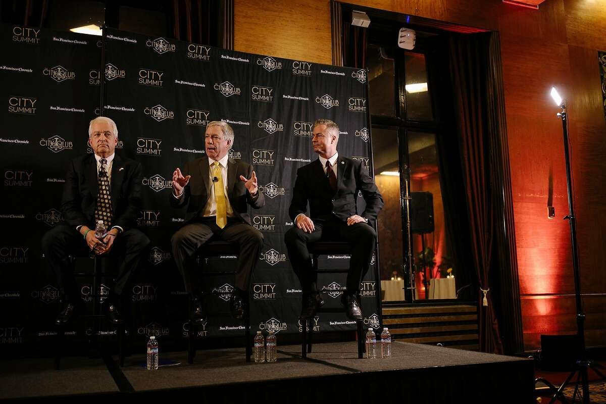Republicans John Cox, Doug Ose and Travis Allen debate at the City Club in San Francisco in February. Ose has since dropped out of the race.
