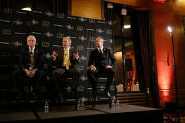 Doug Ose, center, speaks during the City Summit of Republican Candidates for Governor's Formal Discussion at the City Club of San Francisco in San Francisco, Calif. Tuesday, Feb. 6, 2018.