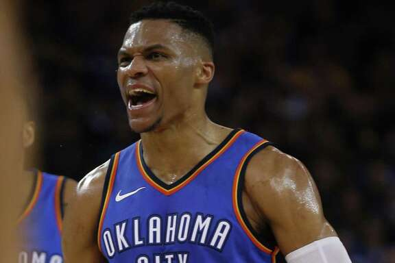 Russell Westbrook had no problem against a Warriors defense that committed 24 fouls. The reigning MVP had 34 points, nine boards and nine assists.