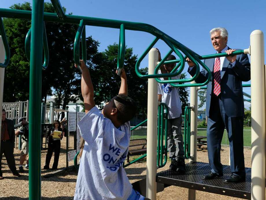 Joseph L. Bruno, the former Senate majority leader, checks out the new playground that he helped to secure for School 12 in Troy on Tuesday.  ( Skip Dickstein / Times Union ) Photo: Skip Dickstein / 2008