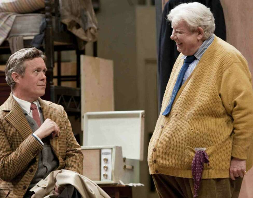 "Alex Jennings, left, and Richard Griffiths are seen performing in Alan Bennett's new play ""The Habit of Art"" in this undated handout photograph."