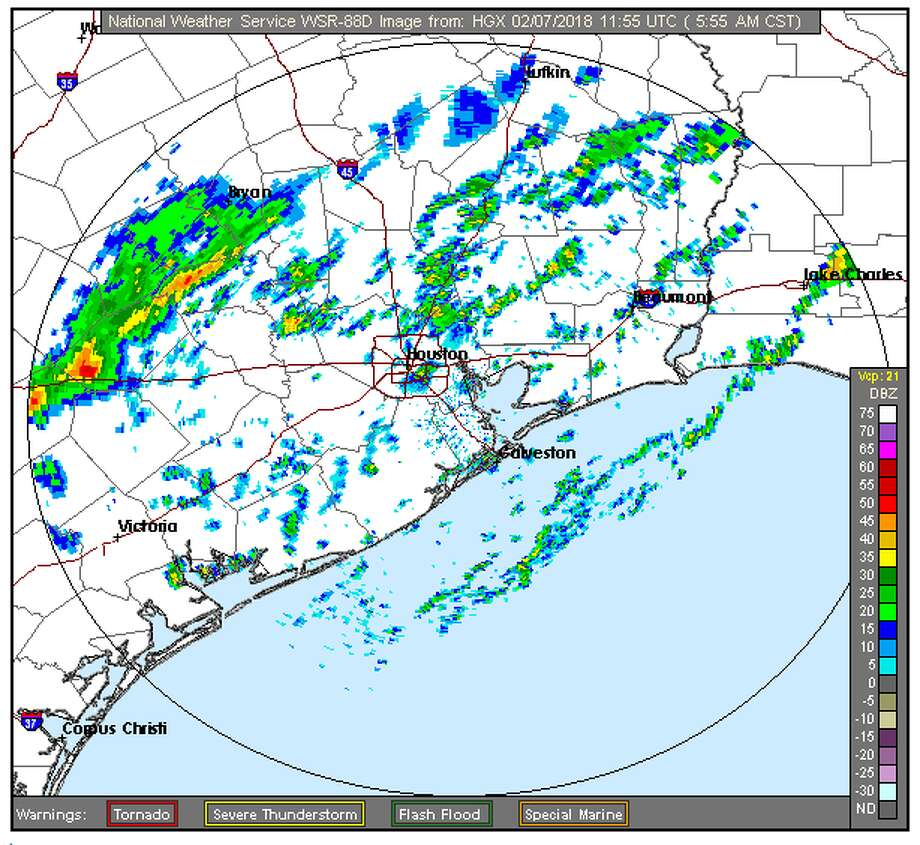 Harris County and surrounding areas can expect rainy weather throughout the day, with temperatures peaking in the mid-40s or mid-50s. Photo: National Weather Service Houston/Galveston Office