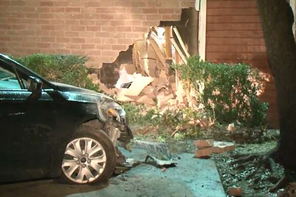 A woman crashed into a north Houston apartment building late Tuesday, Feb. 6, 2018.